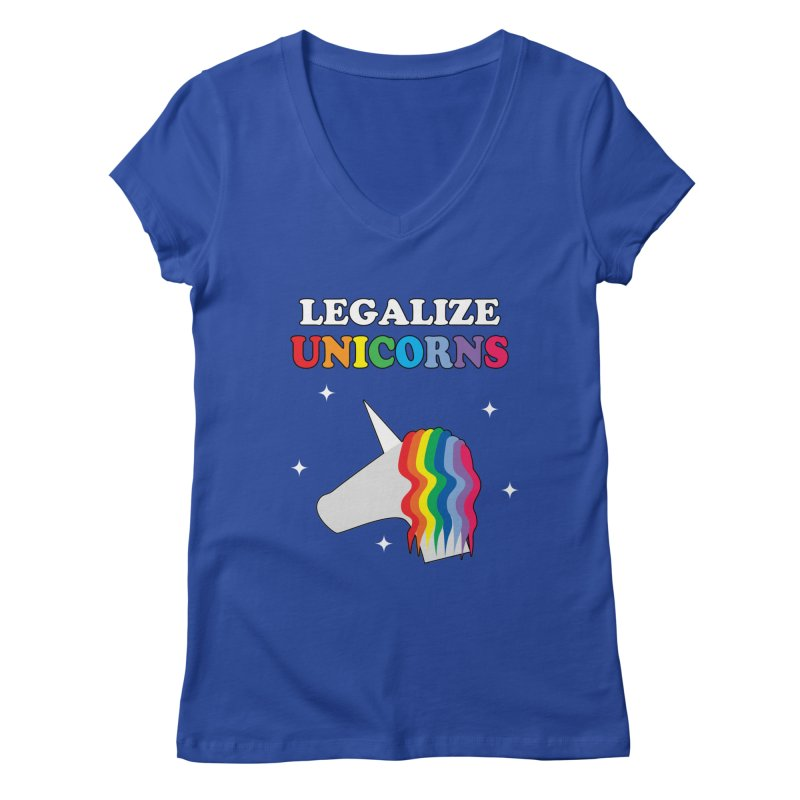 Legalize Unicorns Women's Regular V-Neck by busybee apparel