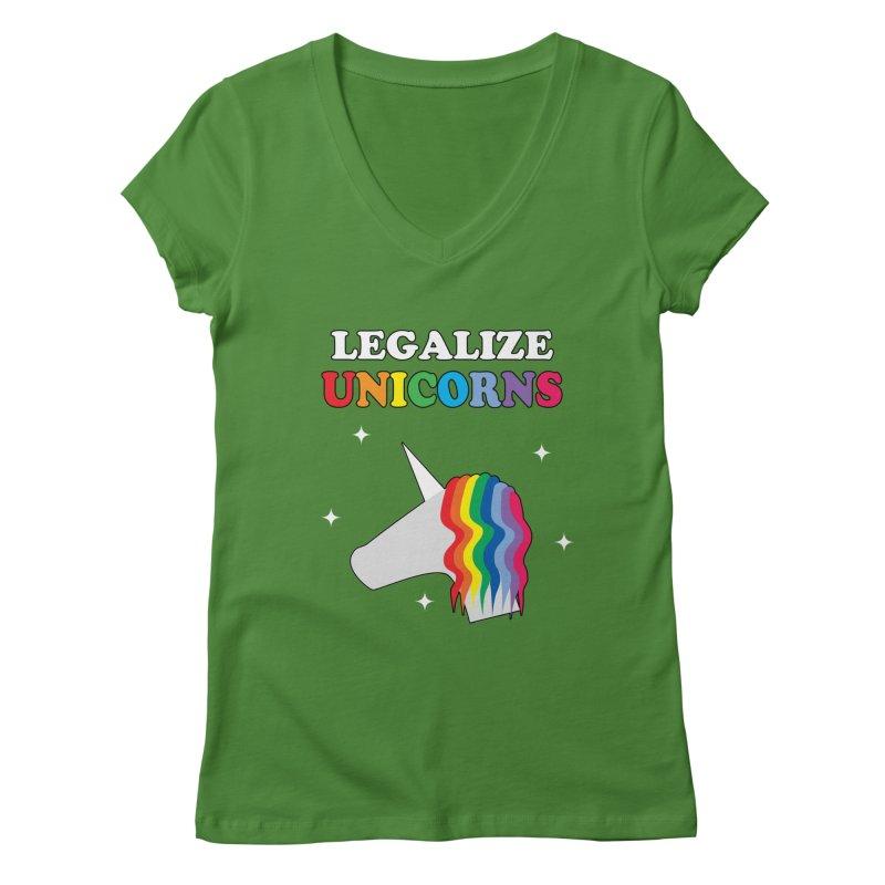 Legalize Unicorns Women's Regular V-Neck by busybee apparel