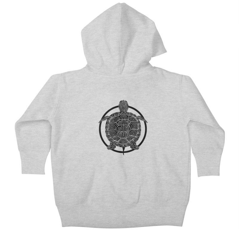 Black Turtle - Circle Collection Kids Baby Zip-Up Hoody by buxmontweb's Artist Shop