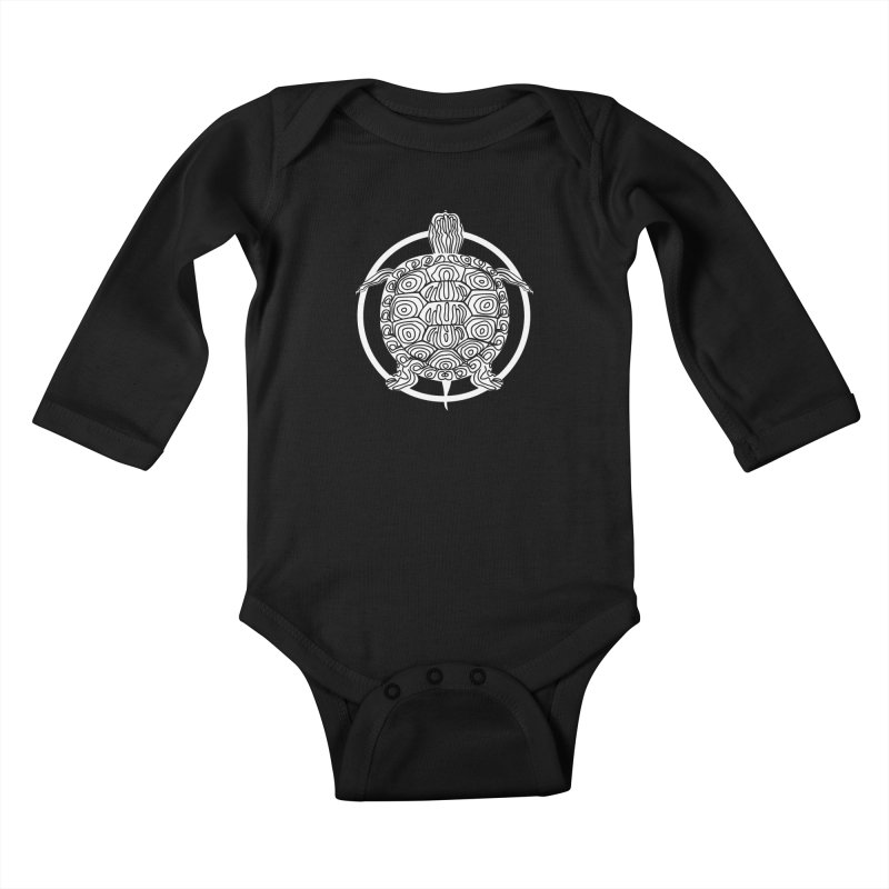 White Turtle - Circle Collection Kids Baby Longsleeve Bodysuit by buxmontweb's Artist Shop