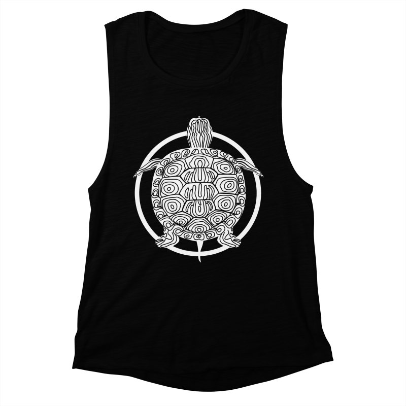 White Turtle - Circle Collection Women's Muscle Tank by buxmontweb's Artist Shop