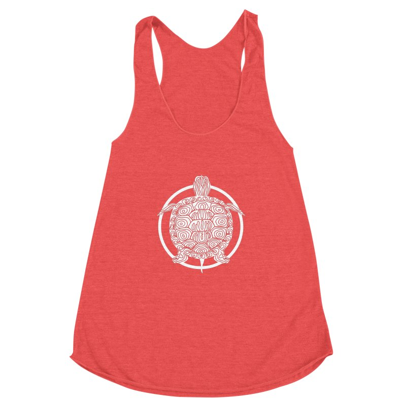 White Turtle - Circle Collection Women's Racerback Triblend Tank by buxmontweb's Artist Shop