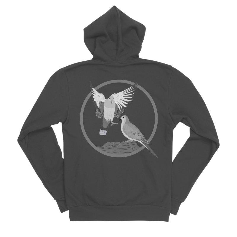 Mourning Doves (Light) - Circle Collection Men's Sponge Fleece Zip-Up Hoody by buxmontweb's Artist Shop