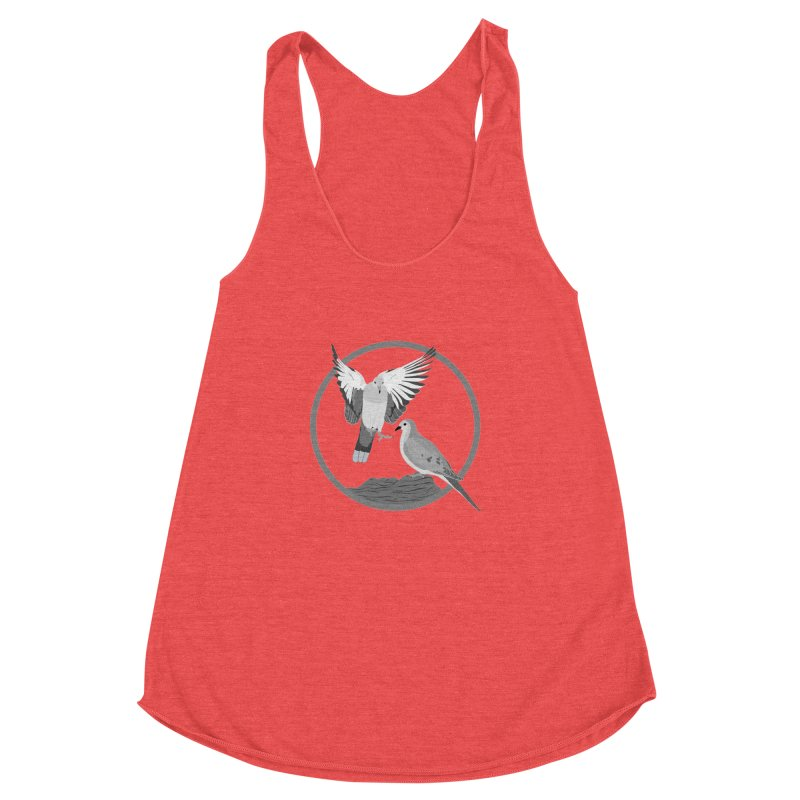 Mourning Doves (Light) - Circle Collection Women's Racerback Triblend Tank by buxmontweb's Artist Shop