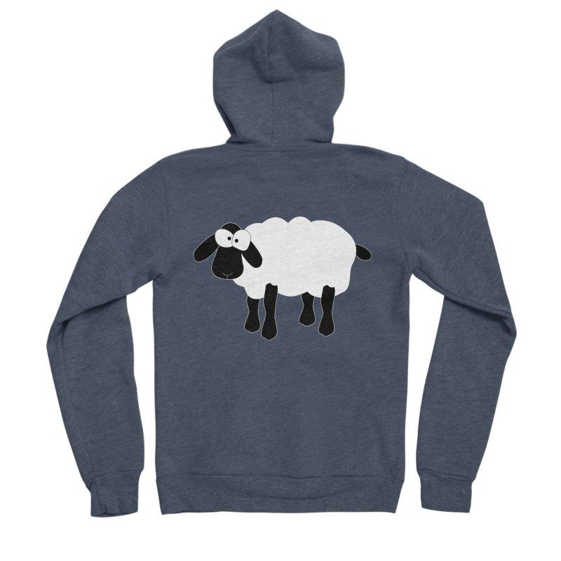 Funny Sheep - for dark fabric Women's Sponge Fleece Zip-Up Hoody by buxmontweb's Artist Shop