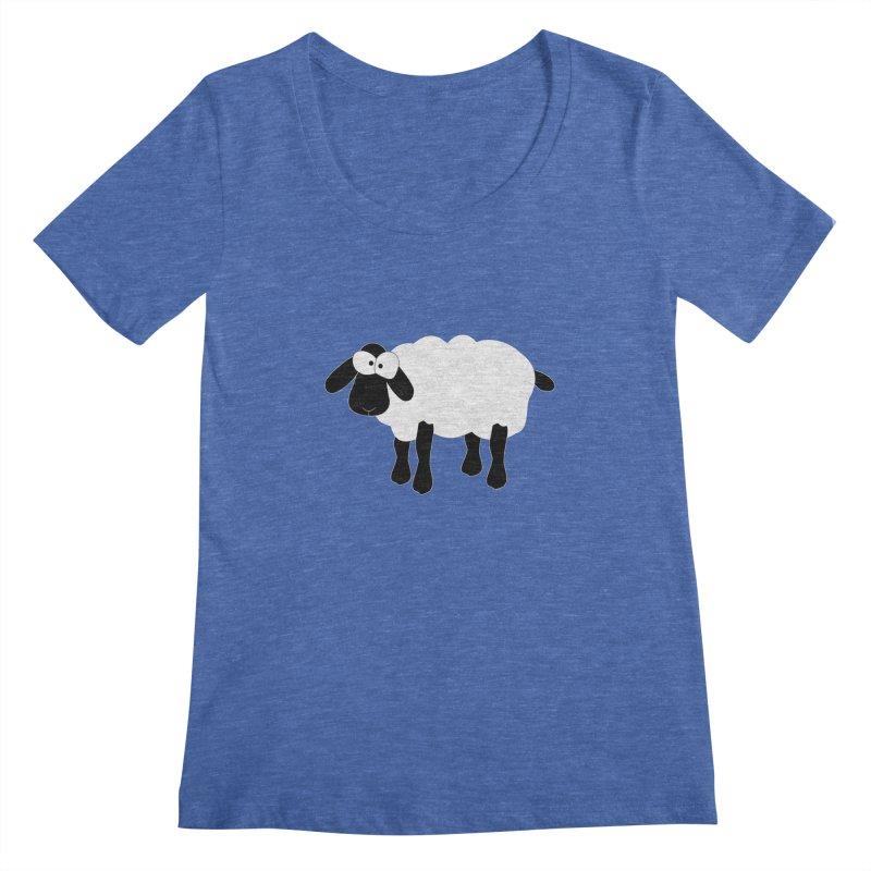 Funny Sheep - for dark fabric Women's Regular Scoop Neck by buxmontweb's Artist Shop