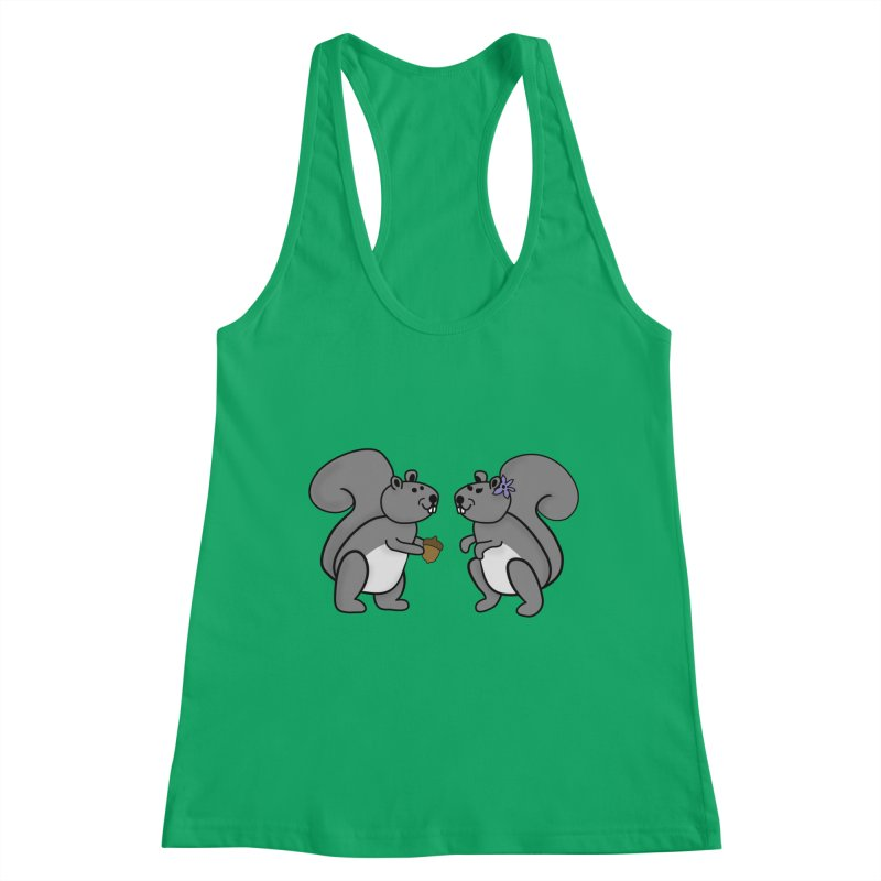 Cute Boy and Girl Squirrels Women's Racerback Tank by buxmontweb's Artist Shop
