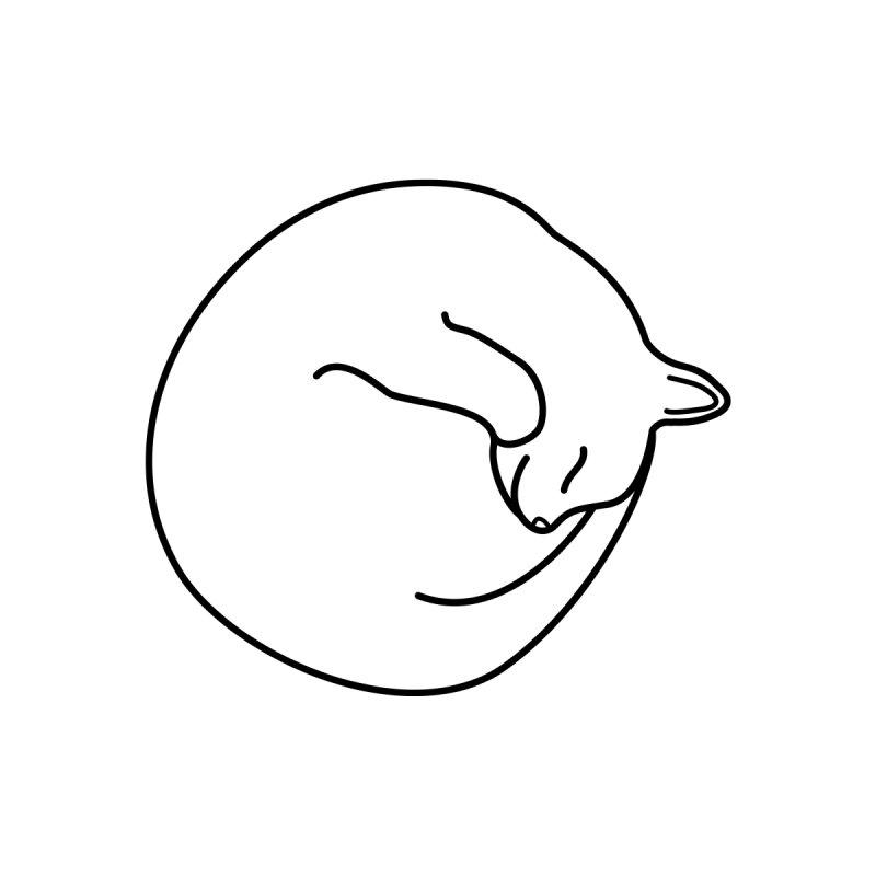 Sleeping Cat Line Drawing - Black Men's Zip-Up Hoody by buxmontweb's Artist Shop