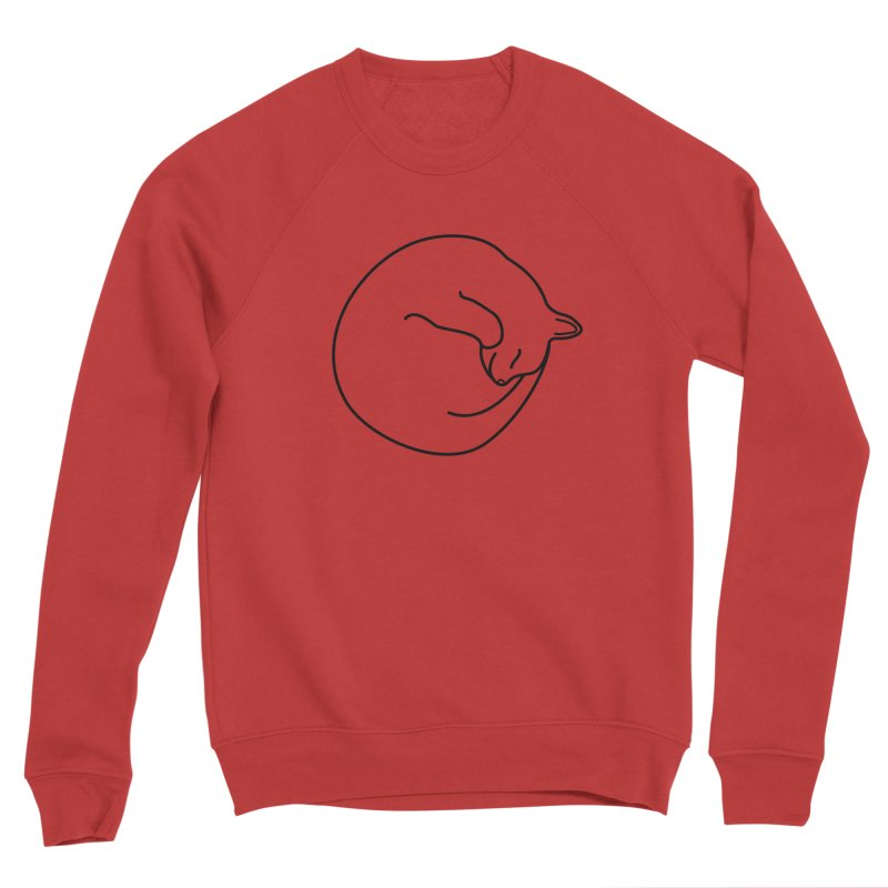 Sleeping Cat Line Drawing - Black Men's Sponge Fleece Sweatshirt by buxmontweb's Artist Shop