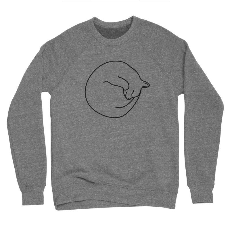 Sleeping Cat Line Drawing - Black Women's Sponge Fleece Sweatshirt by buxmontweb's Artist Shop