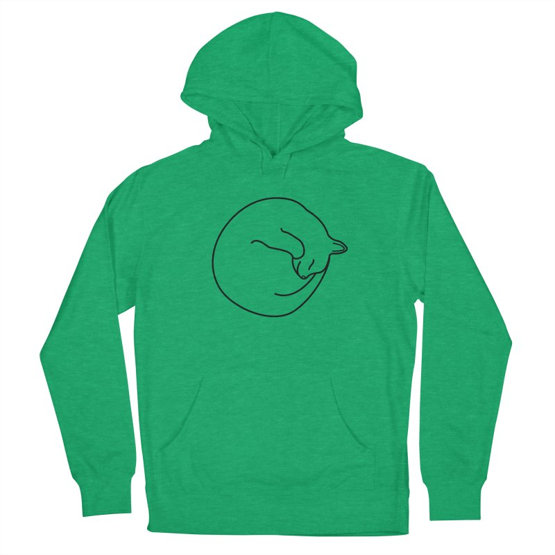 Sleeping Cat Line Drawing - Black Women's French Terry Pullover Hoody by buxmontweb's Artist Shop