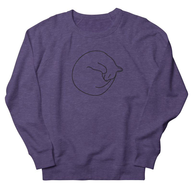 Sleeping Cat Line Drawing - Black Women's French Terry Sweatshirt by buxmontweb's Artist Shop