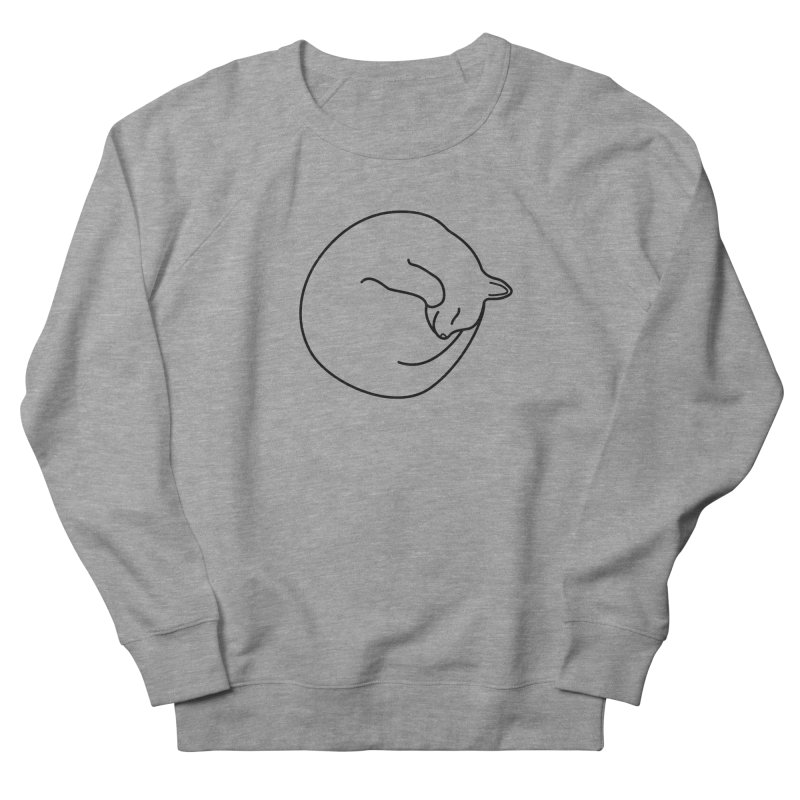 Sleeping Cat Line Drawing - Black Women's French Terry Sweatshirt by buxmontweb's Artist Shop
