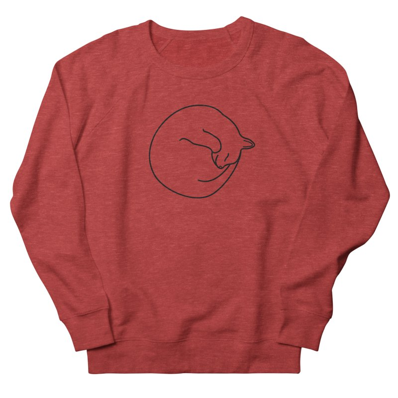 Sleeping Cat Line Drawing - Black Men's French Terry Sweatshirt by buxmontweb's Artist Shop
