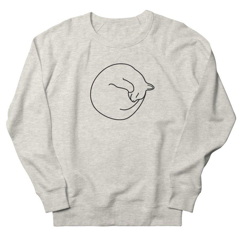 Sleeping Cat Line Drawing - Black Men's French Terry Sweatshirt by buxmontweb's Artist Shop