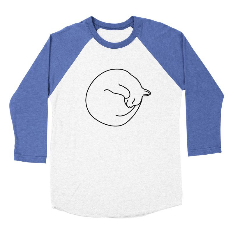 Sleeping Cat Line Drawing - Black Women's Baseball Triblend Longsleeve T-Shirt by buxmontweb's Artist Shop