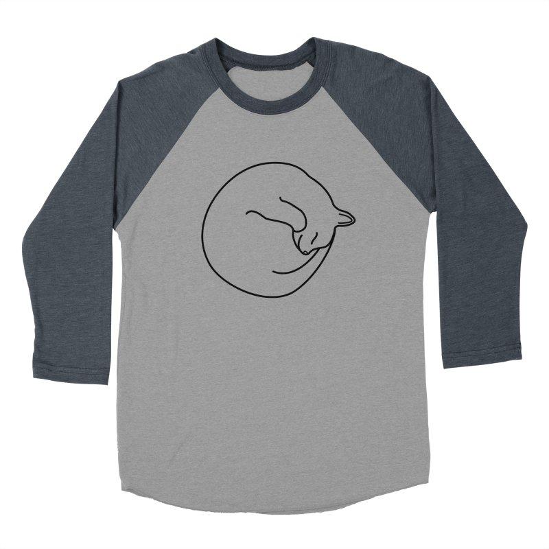 Sleeping Cat Line Drawing - Black Women's Baseball Triblend Longsleeve T-Shirt by buxmontweb's Artist Shop