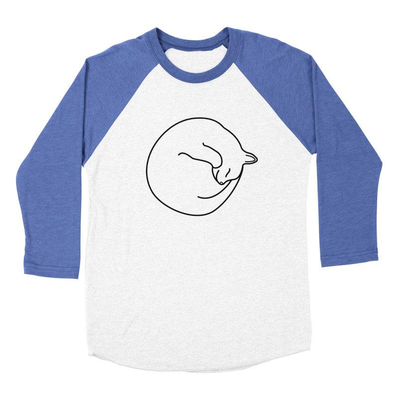 Sleeping Cat Line Drawing - Black Men's Baseball Triblend Longsleeve T-Shirt by buxmontweb's Artist Shop