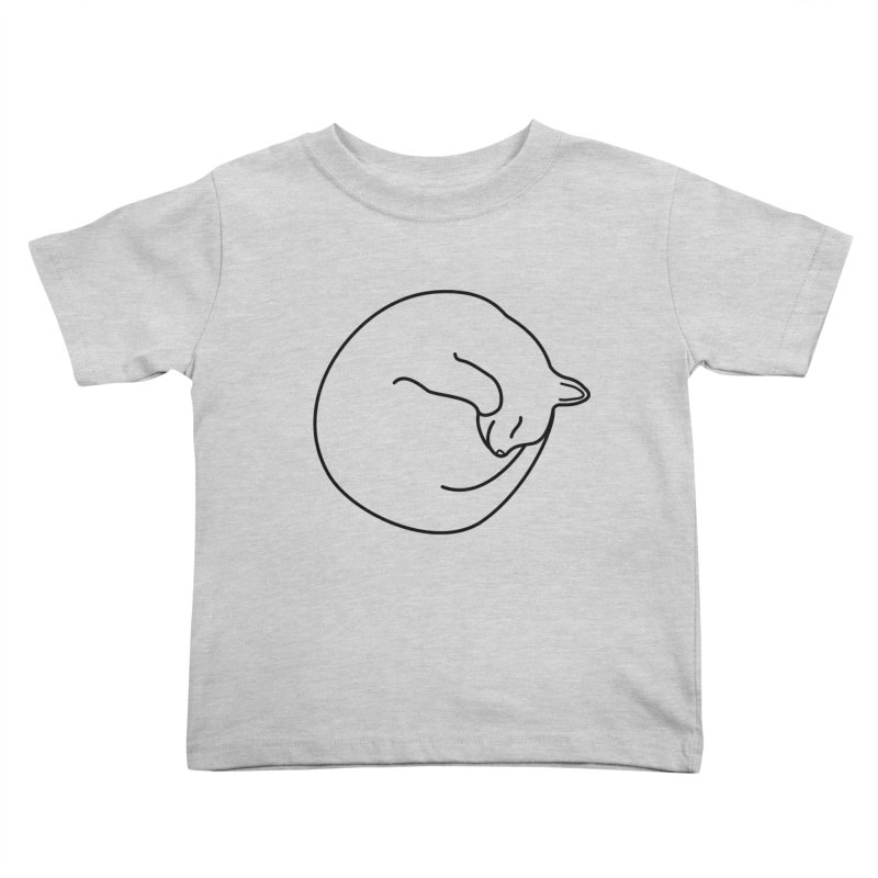 Sleeping Cat Line Drawing - Black Kids Toddler T-Shirt by buxmontweb's Artist Shop