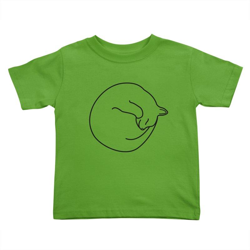 Sleeping Cat Line Drawing - Black Kids Toddler T-Shirt by buxmontweb's Artist Shop