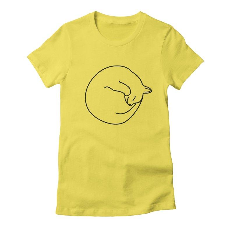 Sleeping Cat Line Drawing - Black Women's T-Shirt by buxmontweb's Artist Shop