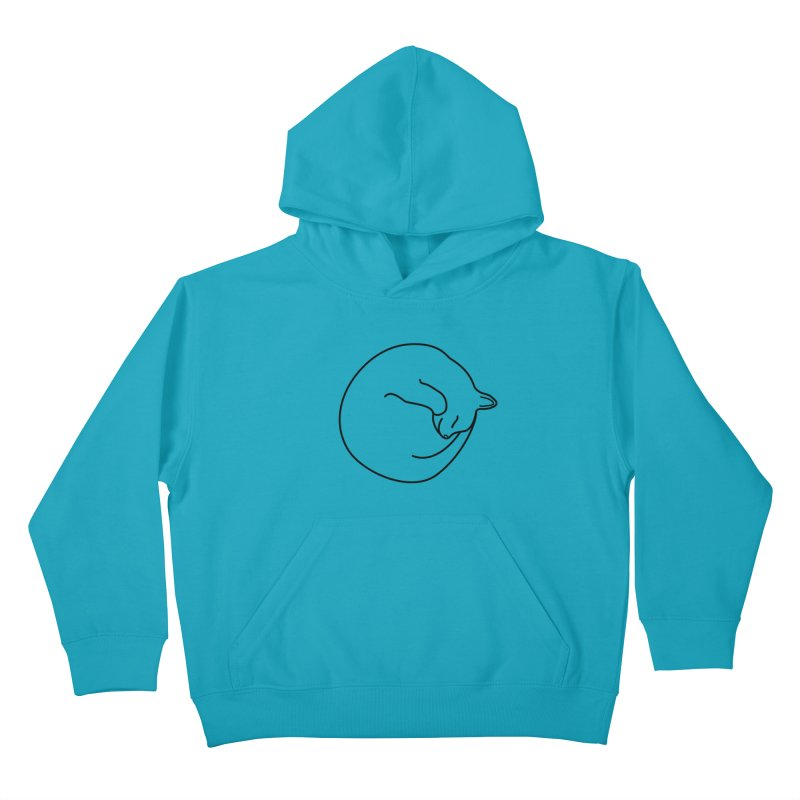 Sleeping Cat Line Drawing - Black Kids Pullover Hoody by buxmontweb's Artist Shop