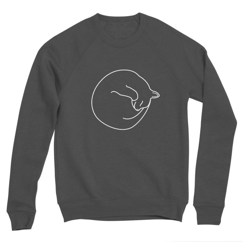 Sleeping Cat Line Drawing - White Men's Sponge Fleece Sweatshirt by buxmontweb's Artist Shop