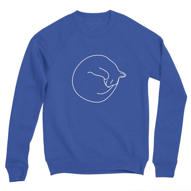Sleeping Cat Line Drawing - White Women's Sponge Fleece Sweatshirt by buxmontweb's Artist Shop