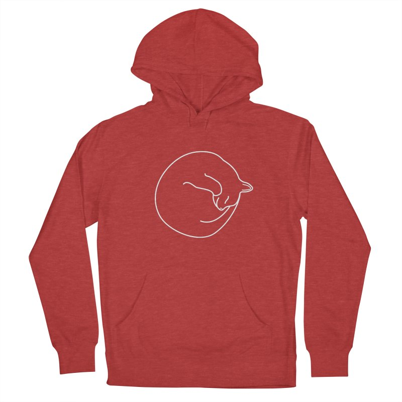 Sleeping Cat Line Drawing - White Women's French Terry Pullover Hoody by buxmontweb's Artist Shop