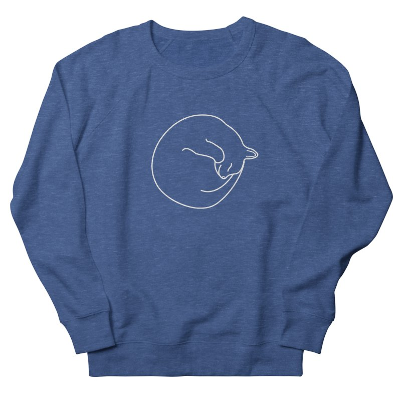 Sleeping Cat Line Drawing - White Women's French Terry Sweatshirt by buxmontweb's Artist Shop