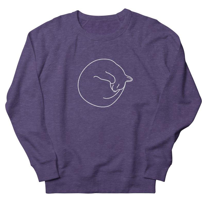 Sleeping Cat Line Drawing - White Women's French Terry Sweatshirt by buxmontweb's Artist Shop
