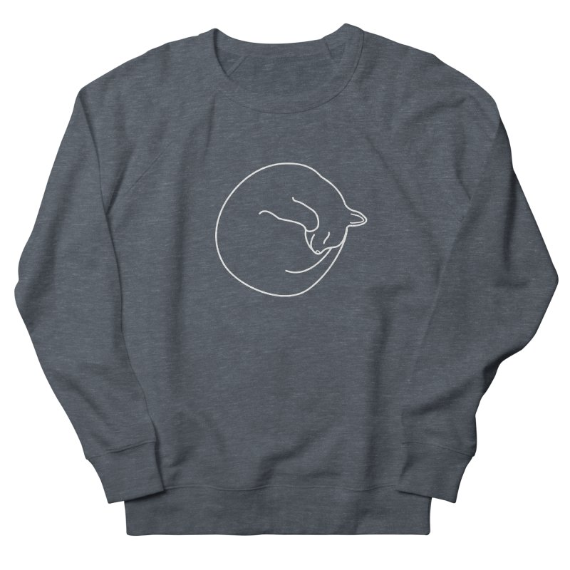 Sleeping Cat Line Drawing - White Men's French Terry Sweatshirt by buxmontweb's Artist Shop