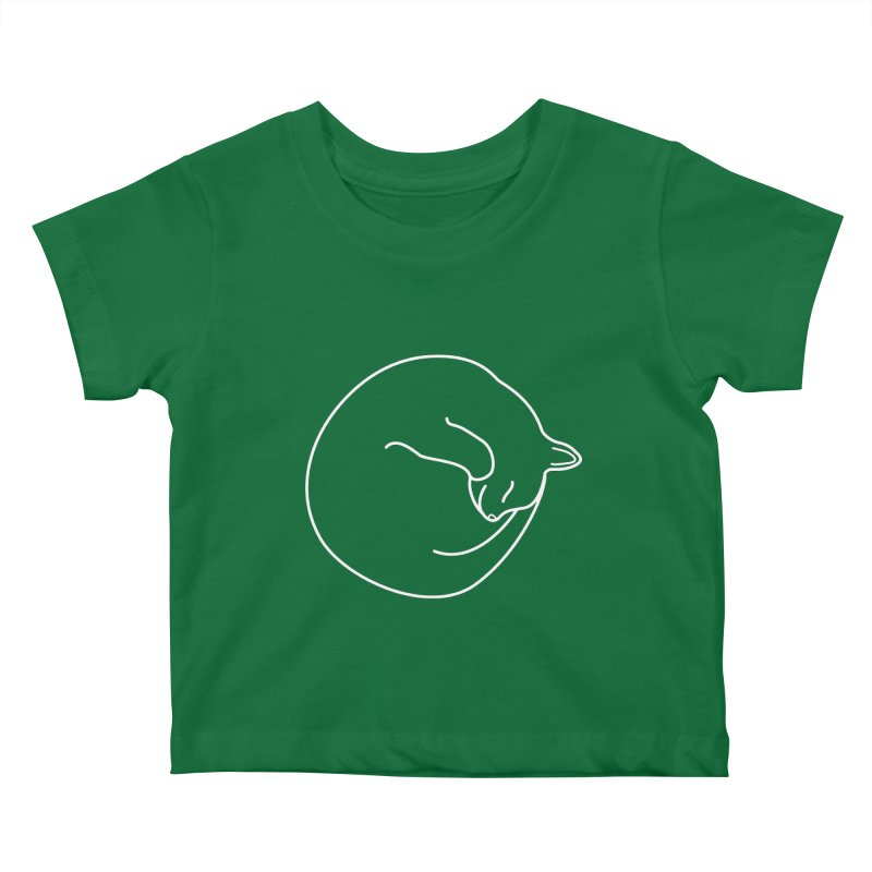 Sleeping Cat Line Drawing - White Kids Baby T-Shirt by buxmontweb's Artist Shop