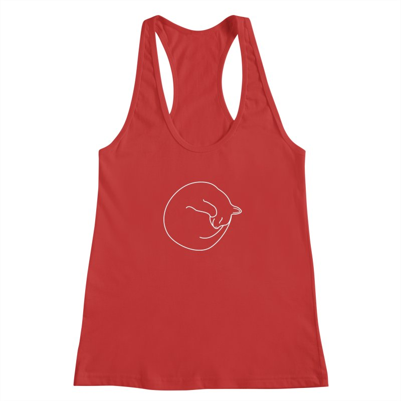 Sleeping Cat Line Drawing - White Women's Racerback Tank by buxmontweb's Artist Shop