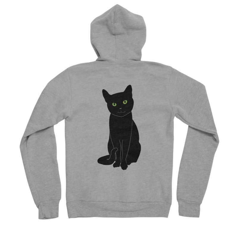 Black Cat with Green Eyes Men's Sponge Fleece Zip-Up Hoody by buxmontweb's Artist Shop