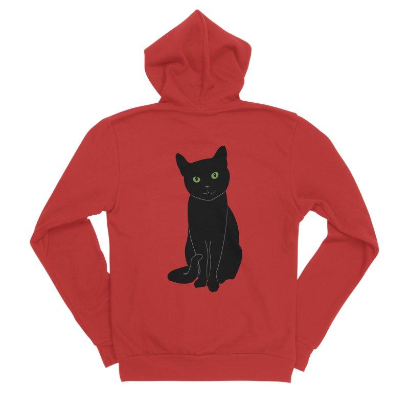 Black Cat with Green Eyes Women's Zip-Up Hoody by buxmontweb's Artist Shop