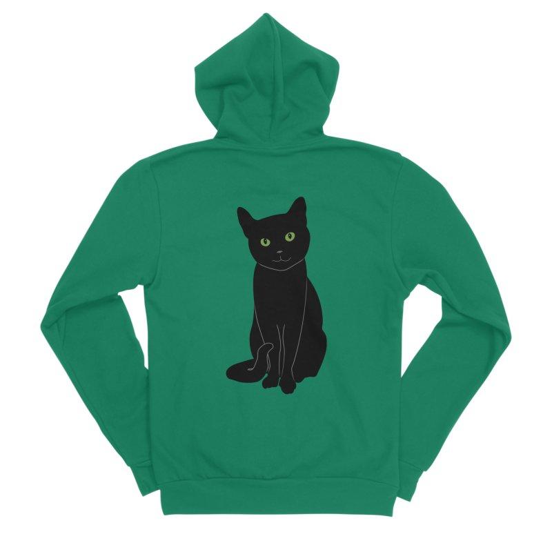 Black Cat with Green Eyes Women's Sponge Fleece Zip-Up Hoody by buxmontweb's Artist Shop
