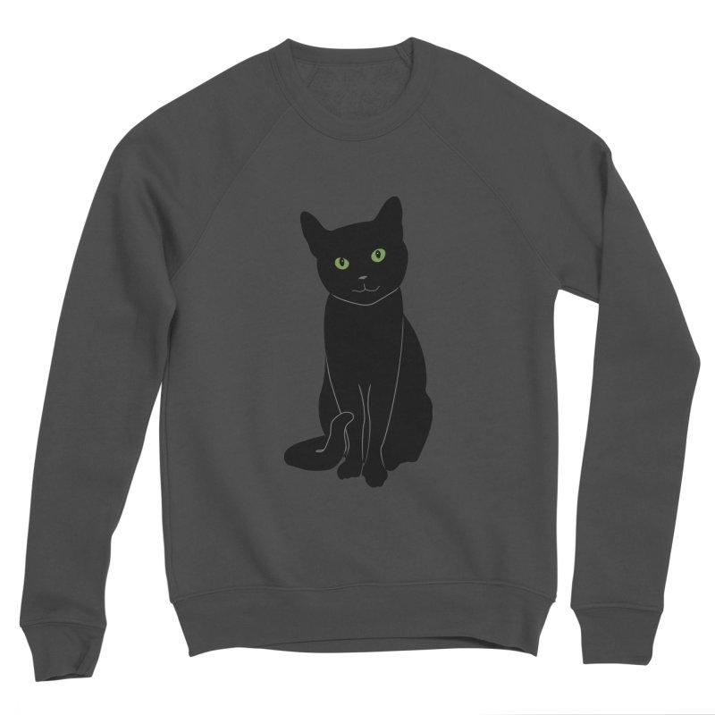 Black Cat with Green Eyes Women's Sponge Fleece Sweatshirt by buxmontweb's Artist Shop