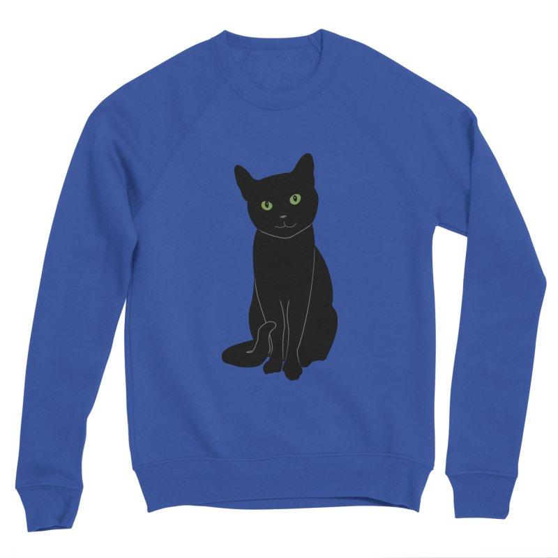 Black Cat with Green Eyes Men's Sponge Fleece Sweatshirt by buxmontweb's Artist Shop