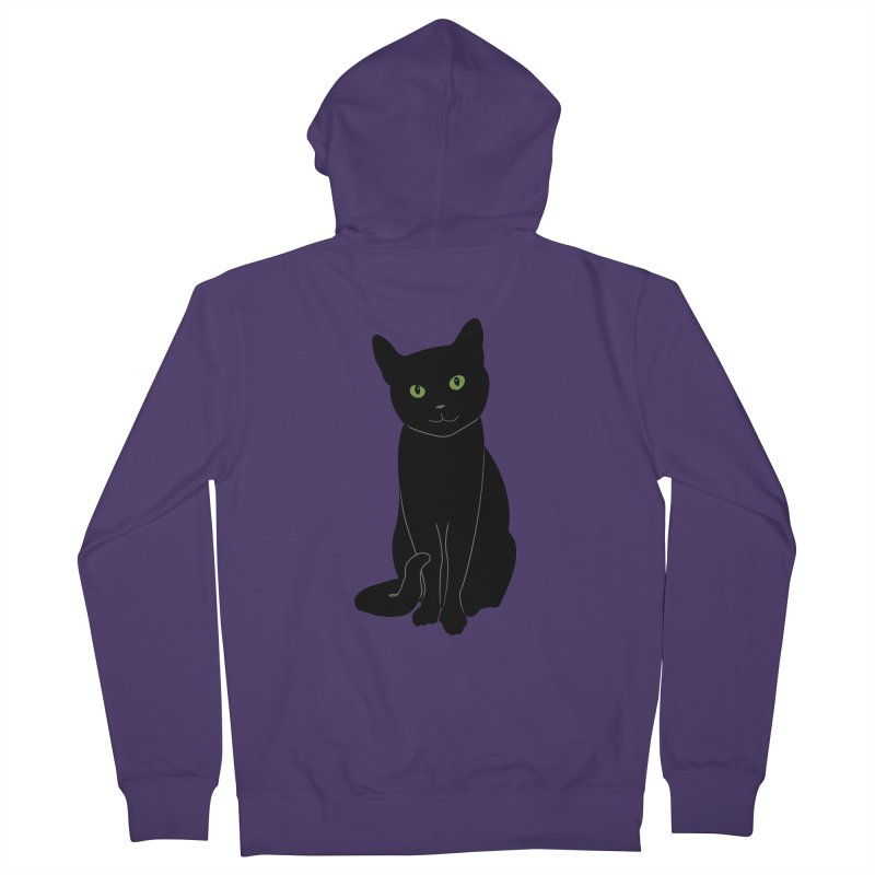 Black Cat with Green Eyes Women's French Terry Zip-Up Hoody by buxmontweb's Artist Shop