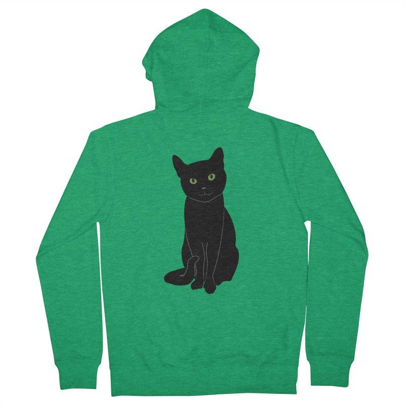 Black Cat with Green Eyes Men's Zip-Up Hoody by buxmontweb's Artist Shop