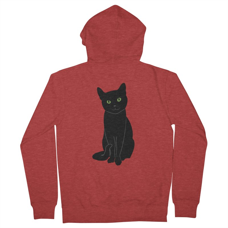 Black Cat with Green Eyes Men's French Terry Zip-Up Hoody by buxmontweb's Artist Shop