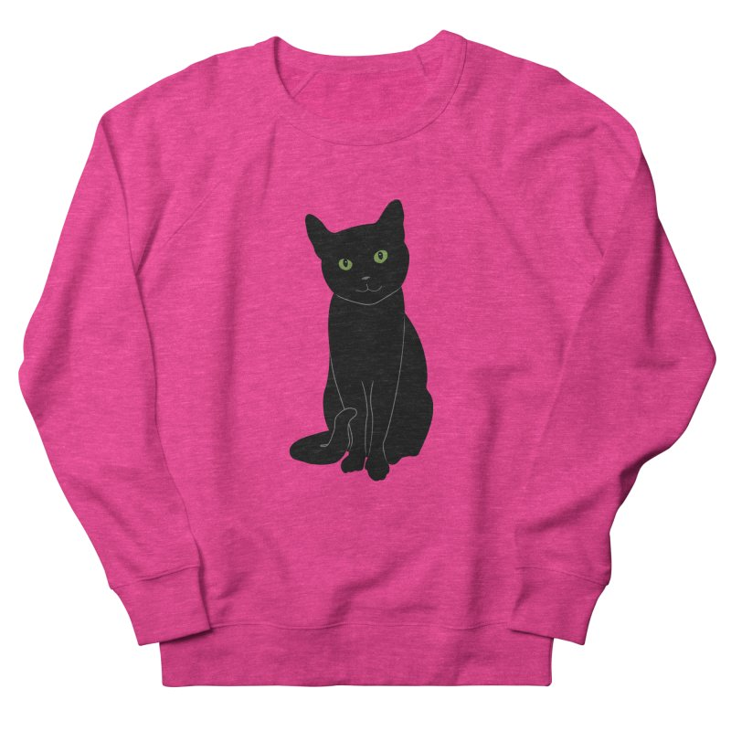 Black Cat with Green Eyes Women's French Terry Sweatshirt by buxmontweb's Artist Shop
