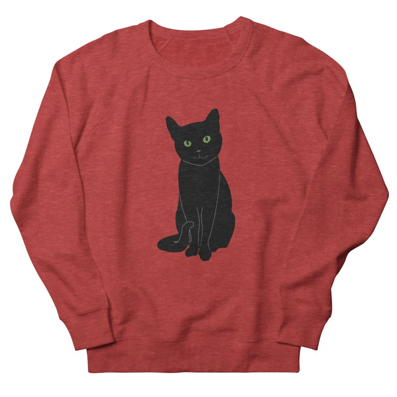 Black Cat with Green Eyes Men's French Terry Sweatshirt by buxmontweb's Artist Shop