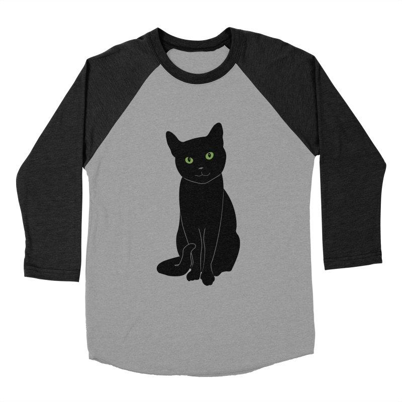 Black Cat with Green Eyes Women's Baseball Triblend Longsleeve T-Shirt by buxmontweb's Artist Shop