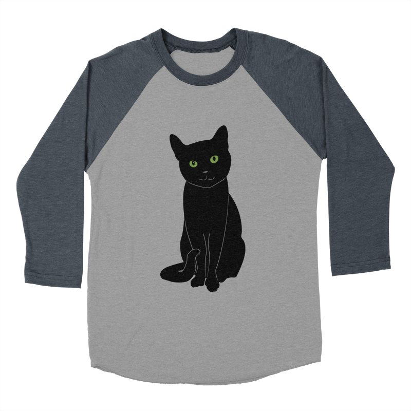 Black Cat with Green Eyes Men's Baseball Triblend Longsleeve T-Shirt by buxmontweb's Artist Shop