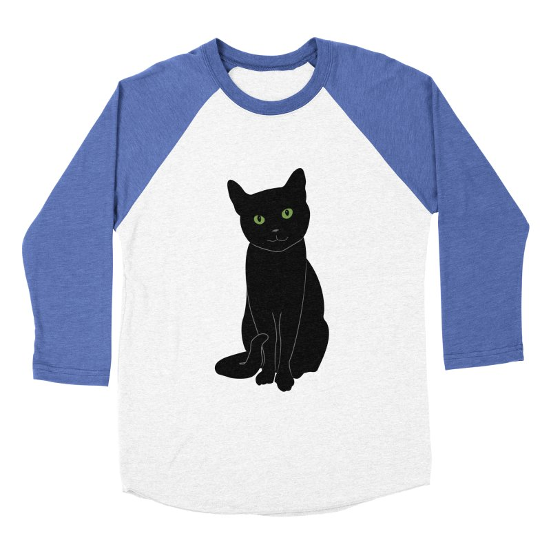 Black Cat with Green Eyes Men's Baseball Triblend Longsleeve T-Shirt by buxmontweb's Artist Shop