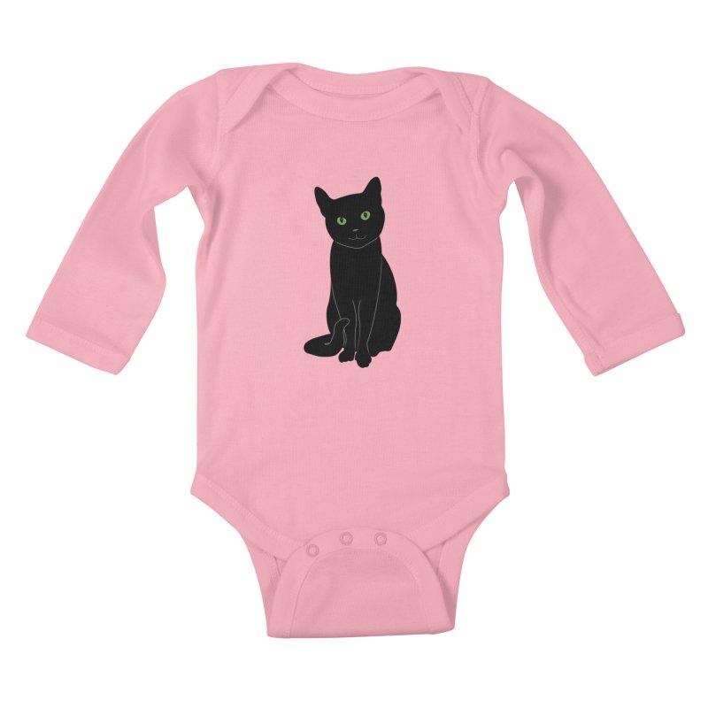 Black Cat with Green Eyes Kids Baby Longsleeve Bodysuit by buxmontweb's Artist Shop