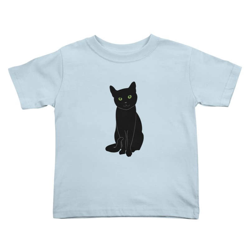 Black Cat with Green Eyes Kids Toddler T-Shirt by buxmontweb's Artist Shop