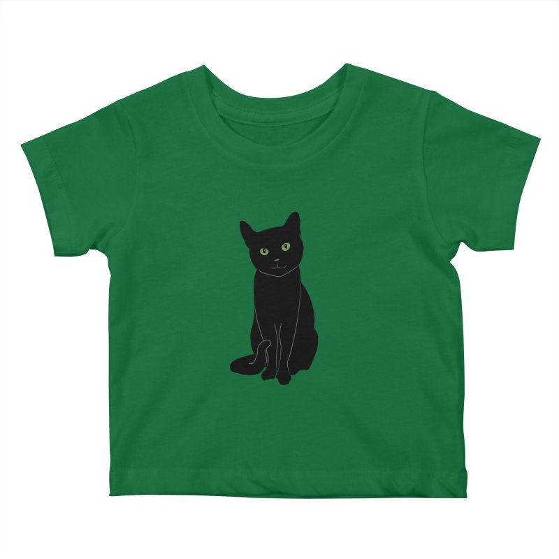 Black Cat with Green Eyes Kids Baby T-Shirt by buxmontweb's Artist Shop